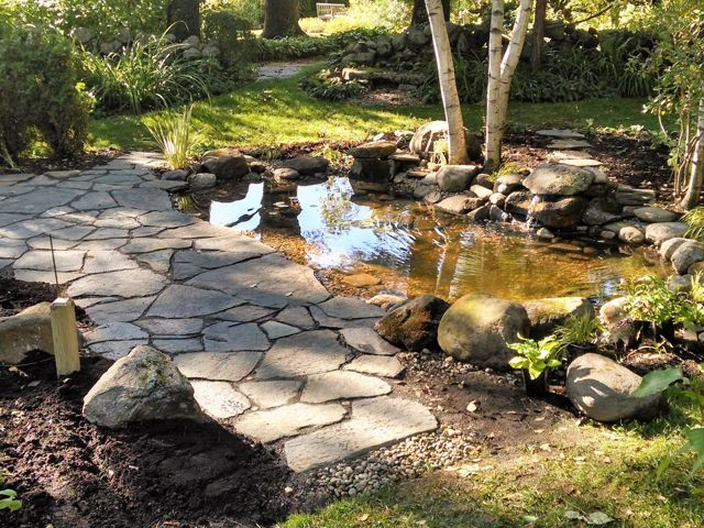 Pond w/waterfall feature, goshen stone patio